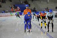 SPEEDSKATING: CALGARY: Olympic Oval, 02-12-2017, ISU World Cup, Mass Start Semi-Final Men 2, Koen Verweij (NED), Daniel  Zapata (COL), Mathias Vosté (BEL), ©photo Martin de Jong
