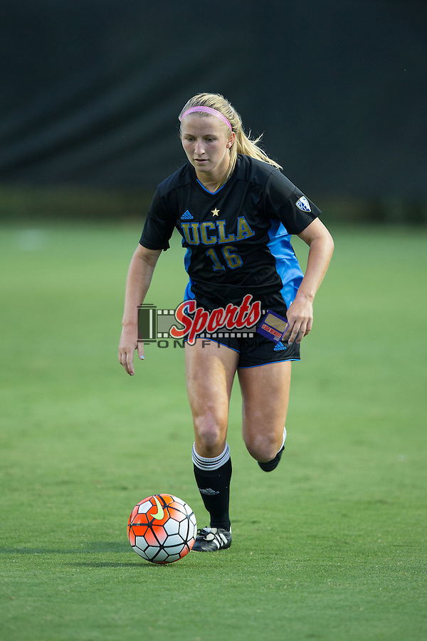 Hailie Mace (16) of the UCLA Bruins pushes the ball up the field during first half action against the Wake Forest Demon Deacons at Spry Soccer Stadium on September 11, 2015 in Winston-Salem, North Carolina.  The Bruins defeated the Demon Deacons 2-1.  (Brian Westerholt/Sports On Film)