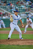 Justin Lewis (33) of the Ogden Raptors delivers a pitch during a game against the Billings Mustangs at Lindquist Field on August 18, 2018 in Ogden, Utah. Billings defeated Ogden 6-4. (Stephen Smith/Four Seam Images)
