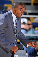 25 February 2010:  FIU Basketball Head Coach Isiah Thomas encourages his players during the first half as the Middle Tennessee Blue Raiders defeated the FIU Golden Panthers, 74-71, at the U.S. Century Bank Arena in Miami, Florida.