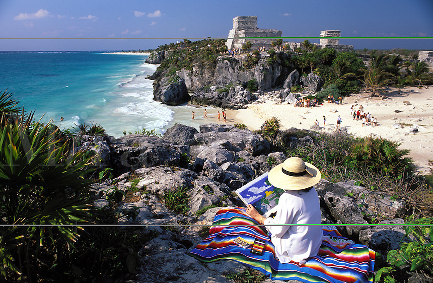 Mexico. Tulum. Woman scetching ruins.
