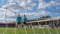 Joe Gatto (left) & James Murray prepare for there punishment during The Impractical Jokers (Hit US TV Comedy) filming at Wycombe Wanderers FC at Adams Park, High Wycombe, England on 5 April 2016. Photo by Andy Rowland.