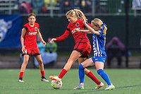 Allston, MA - Sunday, May 1, 2016:  Portland Thorns FC midfielder Allie Long (10) and Boston Breakers forward Brittany Ratcliffe (11) in a match at Jordan Field, Harvard University.