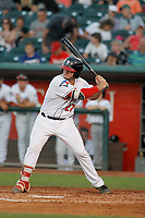 Lansing Lugnuts first baseman Ryan Gold (22) at bat during a game against the Dayton Dragons at Cooley Law School Stadium on August 10, 2018 in Lansing, Michigan. Lansing defeated Dayton 11-4.  (Robert Gurganus/Four Seam Images)