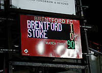 4th January 2020; Griffin Park, London, England; English FA Cup Football, Brentford FC versus Stoke City; The Final score displayed on the electronic board - Strictly Editorial Use Only. No use with unauthorized audio, video, data, fixture lists, club/league logos or 'live' services. Online in-match use limited to 120 images, no video emulation. No use in betting, games or single club/league/player publications