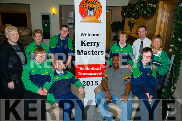 Launching the Kerry Masters Basketball Tournament at Ballyroe Heights Hotel,Tralee on Thursday night. were members of Tralee Special Olympic and Kerry Master Basketball. Front l-r: Liam Purcell,Eoin O'Sullivan,Rick Leonard (KMB) and Adam Meehan.Back l-r: Geraldine Collins (KMB),Sheila O'Sullivan,Liam Martin,Kit Ryan,Michael Ryall (Ballyroe Heights Hotel) and Lorna O'Sullivan.