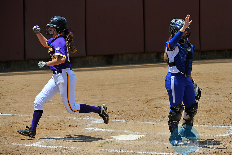 SALEM, VA - MAY 29: Samantha Buhmann (23) of Minnesota State University scores against Angelo State University during the Division II Women's Softball Championship held at Moyer Park on May 29, 2017 in Salem, Virginia. Minnesota State defeated Angelo State 5-1 to win the national championship. (Photo by Andres Alonso/NCAA Photos via Getty Images)
