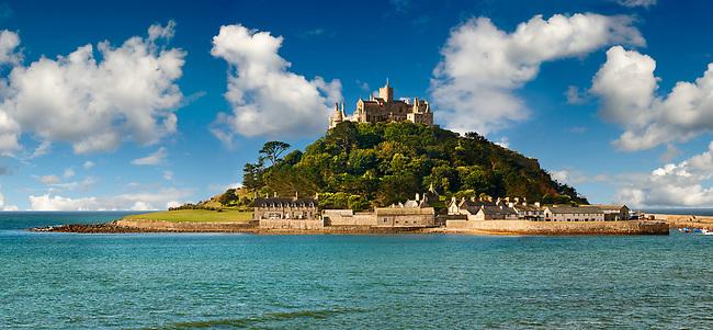 St Michael's Mount tidal island, Mount's Bay, Cornwall, England, United Kingdom.