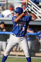 June 21st, 2007:  Manny Rodriguez of the Auburn Doubledays, Class-A affiliate of the Toronto Blue Jays at Dwyer Stadium in Batavia, NY.  Photo by:  Mike Janes/Four Seam Images