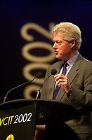 February 25, 2002, Adelaide, Autralia<br /> <br /> Former US president Bill Clinton adress the audience at the World Congress on information Technologies (IT) which concluded in Adelaide Thursday, February 28, 2002.<br /> <br /> It is rumored that Clinton received more than is usual 100 000 US $ fee for the conference<br /> <br /> Mandatory Credit: Photo by Peter Mathew / EventPix- Images Distribution. <br /> (&copy;) Copyright 2002 Peter Mathew / EventPix<br /> <br /> NOTE:NikoN d-1, saved in Adobe 1998 RGB.