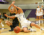 SIOUX FALLS, SD - DECEMBER 7: Anna Goodhope #2 from the University of Sioux Falls battles for the loose ball with Lindsay Dorr #40 from Concordia St. Paul during their game Friday night at the Stewart Center in Sioux Falls, SD. (Photo by Dave Eggen/Inertia)