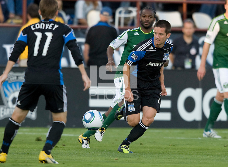 Sam Cronin of Earthquakes in action during the game against the Timbers at Buck Shaw Stadium in Santa Clara, California on August 6th, 2011.   San Jose Earthquakes and Portland Timbers tied 1-1.