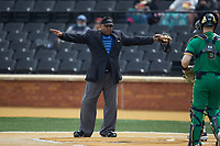 Home plate umpire Gregory Street makes a safe call during the ACC baseball game between the Notre Dame Fighting Irish and the Wake Forest Demon Deacons at David F. Couch Ballpark on March 10, 2019 in  Winston-Salem, North Carolina. The Demon Deacons defeated the Fighting Irish 7-4 in game one of a double-header.  (Brian Westerholt/Four Seam Images)