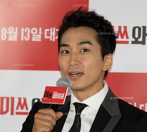 "Song Seung-Heon, Jul 28, 2015 : South Korean actor Song Seung-heon attends a press event promoting his new movie, ""Miss Wife"" in Seoul, South Korea. (Photo by Lee Jae-Won/AFLO) (SOUTH KOREA)"