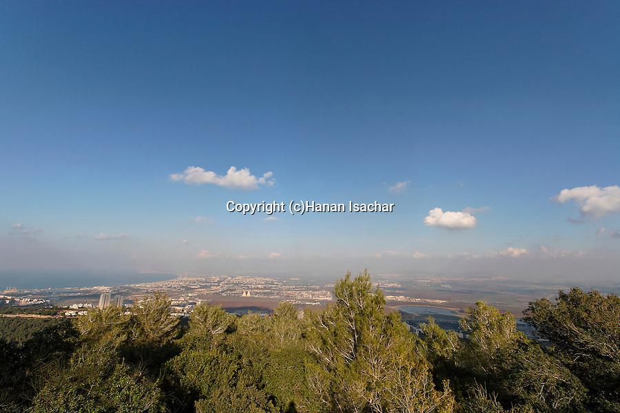 Mount Carmel. A view of Haifa bay from Mount Carmel