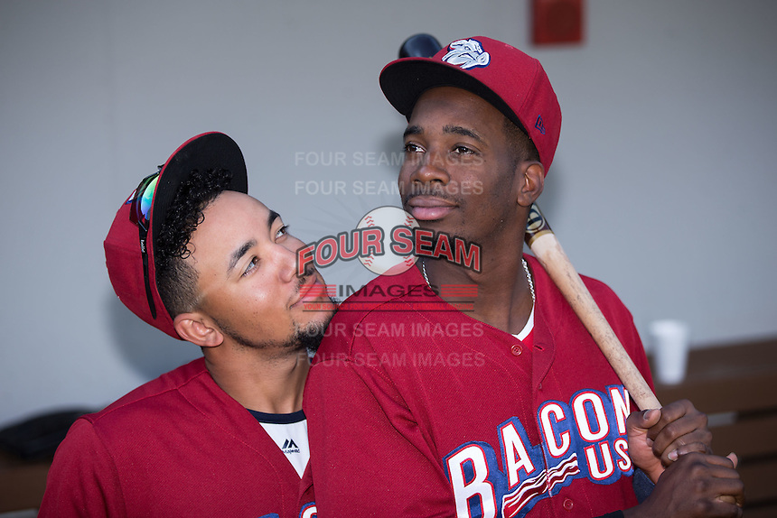J.P. Crawford (left) and Darnell Sweeney (right) have some fun prior to the game against the Charlotte Knights at BB&T BallPark on June 3, 2016 in Charlotte, North Carolina.  The Iron Pigs defeated the Knights 6-4.  (Brian Westerholt/Four Seam Images)