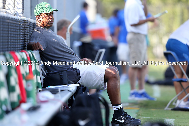 31 August 2014: UAB head coach Harold Warren. The Duke University Blue Devils hosted the University of Alabama Birmingham Blazers at Koskinen Stadium in Durham, North Carolina in a 2014 NCAA Division I Women's Soccer match. Duke won the game 3-1.
