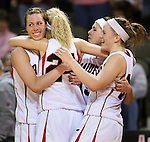 SIOUX CITY, IA - MARCH 14, 2009 --  Northwestern College players celebrate defeating  Davnenport University 76-66 during their 2009 NAIA DII Women's Basketball National Championship quarterfinal game Saturday at the Tyson Events Center in Sioux City. (Photo by Dick Carlson/Inertia)