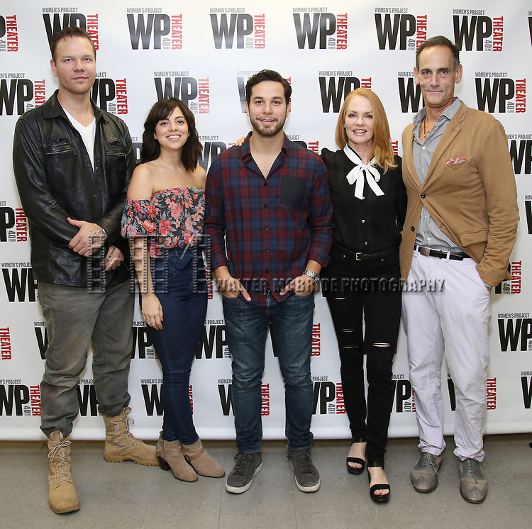 Jim Parrack, Krysta Rodriguez, Skylar Astin, Marg Helgenberger, and Damian Young attends the WP Theater production of 'What We're Up Against' Photo Calll at WP Theater Office on October 5, 2017 in New York City.