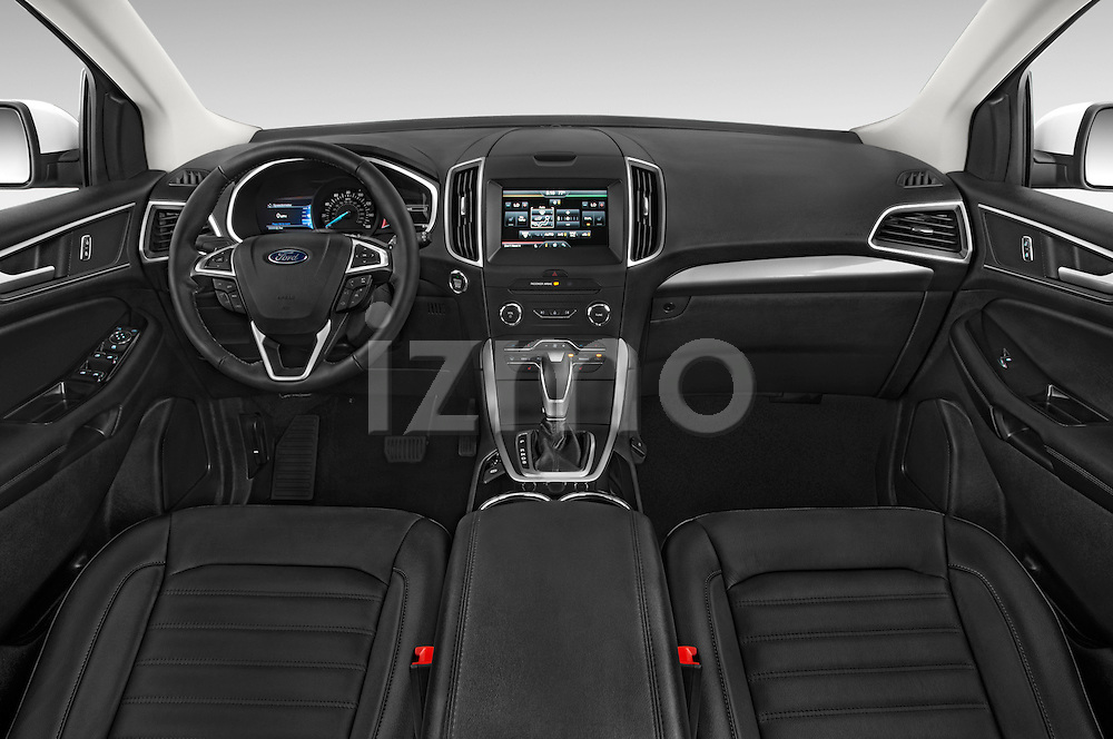 Stock photo of straight dashboard view of a 2015 Ford Edge SEL 5 Door Suv Dashboard