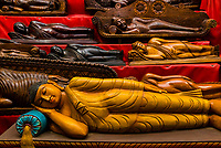 Carved wooden statues at a workshop in Polonnaruwa, Sri Lanka.