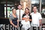 CHRISTENED: Mark and Emer Granville who had their baby daughter Doireann Marie christened in Holy Cross Church, Kenmare, on Saturday, by Fr Tom Crean and held a family reception after in the Brooklane Hotel. Also pictured are godparents Sandra Granville (left) and Donal Kidney (right).