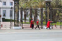 Dakar, Senegal.  Presidential Guards in front of the Presidential Palace.  Changing of the Guard.