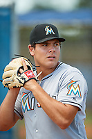 GCL Marlins pitcher Zack Leban (41) warms up during a game against the GCL Mets on August 3, 2018 at St. Lucie Sports Complex in Port St. Lucie, Florida.  GCL Mets defeated GCL Marlins 3-2.  (Mike Janes/Four Seam Images)