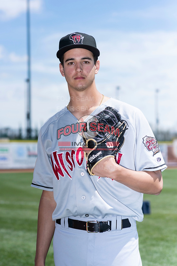 Wisconsin Timber Rattlers pitcher Max Lazar (22) poses for a photo before a Midwest League game against the Great Lakes Loons at Dow Diamond on May 4, 2019 in Midland, Michigan. (Zachary Lucy/Four Seam Images)