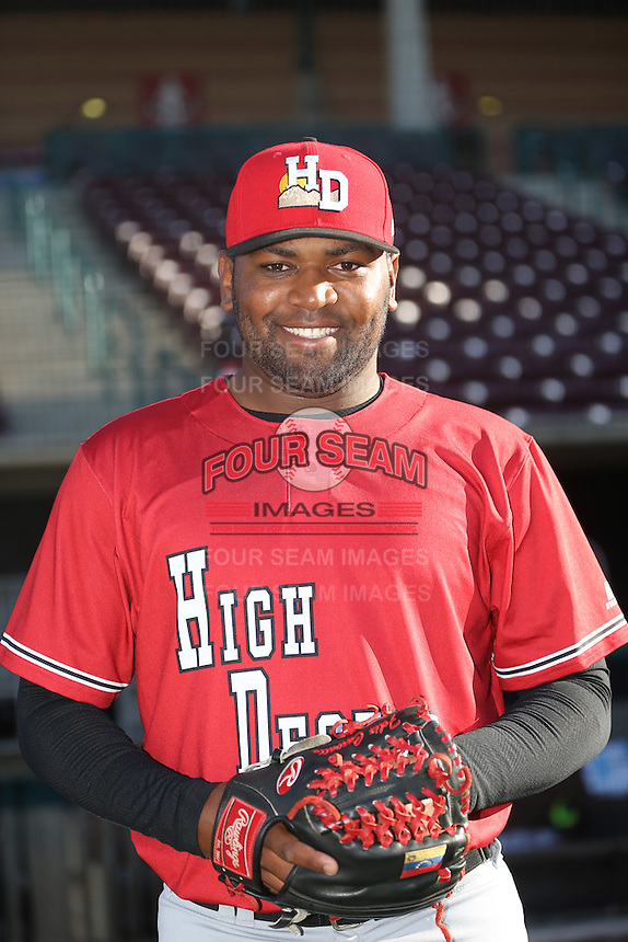 Felix Carvallo of the High Desert Mavericks poses for a photo before a game against the Lake Elsinore Storm at The Diamond on April 27, 2016 in Lake Elsinore, California. High Desert defeated Lake Elsinore, 10-2. (Larry Goren/Four Seam Images)
