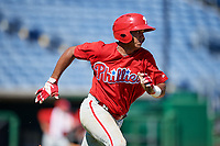 Philadelphia Phillies Freddy Francisco (6) runs to first base during a Florida Instructional League game against the New York Yankees on October 12, 2018 at Spectrum Field in Clearwater, Florida.  (Mike Janes/Four Seam Images)