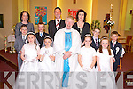 Cathal Bradley, Ciara Brosnan, Dan Murphy, Kelly Brosnan, Killian Cronin, Lily Sheehan, Siobhan McSweeney and Tadgh O'Mahony who received their First Holy Communion in Knocknagree on Saturday pictured with their teachers Marguerite Dineen, TJ and Aoife Golden and Fr Con Buckley.............