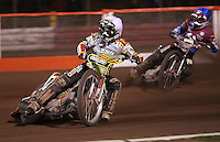 Heat 15: Leigh Adams (white) and Adam Shields (blue) - Lakeside Hammers vs Swindon Robins, Elite League Speedway at the Arena Essex Raceway, Purfleet - 03/09/10 - MANDATORY CREDIT: Rob Newell/TGSPHOTO - Self billing applies where appropriate - 0845 094 6026 - contact@tgsphoto.co.uk - NO UNPAID USE.