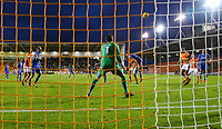The ball comes off the head of Portsmouth's Oliver Hawkins to level the score at 2-2<br /> <br /> Photographer Alex Dodd/CameraSport<br /> <br /> The EFL Sky Bet League One - Blackpool v Portsmouth - Saturday 11th November 2017 - Bloomfield Road - Blackpool<br /> <br /> World Copyright &copy; 2017 CameraSport. All rights reserved. 43 Linden Ave. Countesthorpe. Leicester. England. LE8 5PG - Tel: +44 (0) 116 277 4147 - admin@camerasport.com - www.camerasport.com