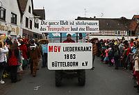 Büttelborn 03.03.2019: Rosensonntagsumzug<br /> Wagen vom MGV Liederkranz<br /> Foto: Vollformat/Marc Schüler, Schäfergasse 5, 65428 R'eim, Fon 0151/11654988, Bankverbindung KSKGG BLZ. 50852553 , KTO. 16003352. Alle Honorare zzgl. 7% MwSt.