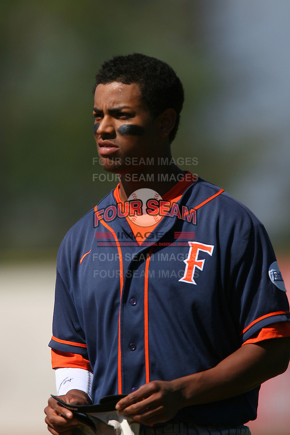 March 28 2009: Khris Davis of the CS Fullerton Titans during game against the UC Riverside Highlanders at Riverside Sports Complex in Riverside,CA.  Photo by Larry Goren/Four Seam Images