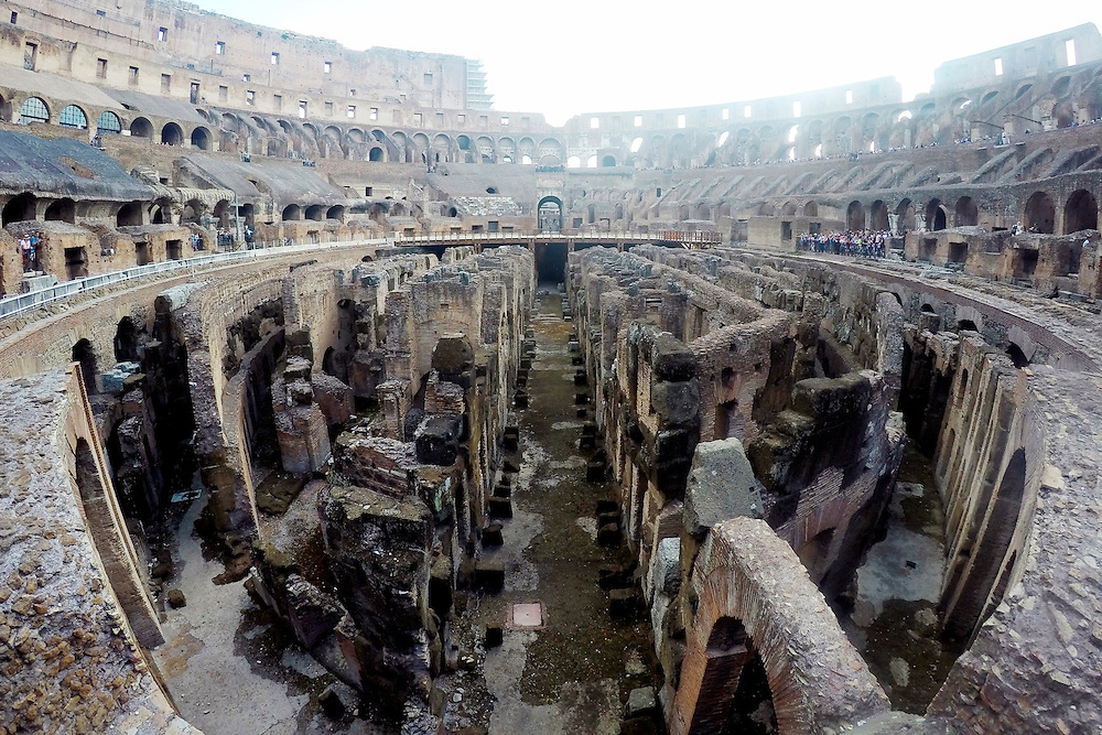 The exposed catacombs of the Colosseum is seen on Wednesday, Sept. 23, 2015, in Rome, Italy. (Photo by Barbara Brosher)