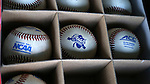 CARY, NC - MARCH 03: A box of baseballs embossed with the Irish Classic logo sits in the dugout. The University of Maryland Terrapins played the University of Notre Dame Fighting Irish on March 3, 2017, at USA Baseball NTC Stadium Field in Cary, NC in a Division I College Baseball game, and part of the Irish Classic tournament. Maryland won the game 4-3.