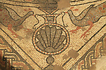 A Byzantine mosaic floor depicting an amphorae and peacocks discovered in Beit Kama, the northern Negev