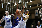 DURHAM, NC - NOVEMBER 26: Duke's Leaonna Odom (5) beats Presbyterian's Ericka Blackwell-Boyden (44) and Duke's Erin Mathias (35) for a rebound. The Duke University Blue Devils hosted the Presbyterian College Blue Hose on November 26, 2017 at Cameron Indoor Stadium in Durham, NC in a Division I women's college basketball game. Duke won the game 79-45.