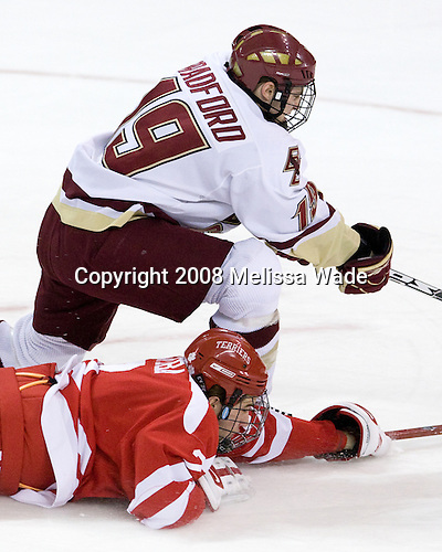 Brock Bradford (Boston College - 19), Eric Gryba (Boston University - 2) - The Boston University Terriers defeated the Boston College Eagles 3-1 at Kelley Rink in Conte Forum in Chestnut Hill, Massachusetts.