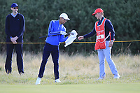 Isaiah Salinda (USA) on the 5th during Day 2 Foursomes of the Walker Cup, Royal Liverpool Golf CLub, Hoylake, Cheshire, England. 08/09/2019.<br /> Picture Thos Caffrey / Golffile.ie<br /> <br /> All photo usage must carry mandatory copyright credit (© Golffile | Thos Caffrey)