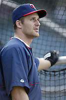 Corey Koskie of the Minnesota Twins before a 2002 MLB season game against the Los Angeles Angels at Angel Stadium, in Anaheim, California. (Larry Goren/Four Seam Images)
