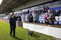 Kingstonian manager Hayden Bird welcomes fans during Macclesfield Town vs Kingstonian, Emirates FA Cup Football at the Moss Rose Stadium on 10th November 2019