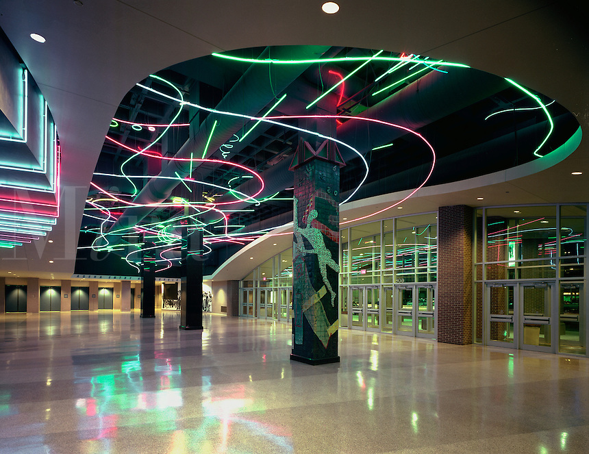The lobby interior and decorative neon lights of the Target Center basketball arena.