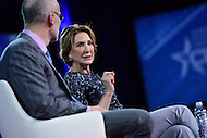 National Harbor, MD - February 24, 2017: Former republican presidential candidate Carly Fiorina participates in a conversation with Arthur Brooks of the American Enterprise Institute during the Conservative Political Action Conference at the Gaylord National Hotel in National Harbor, MD, February 24, 2017.  (Photo by Don Baxter/Media Images International)