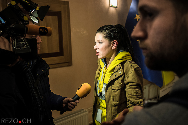 Kiev, Ukraine - 03 december 2013: Pop singer Ruslana Lyjytchko, winner of the Eurovision in 2004 is strongly engaged toward the pro-european camp and extensively participate to the rallies of Euromaidan. Credit: Niels Ackermann / Rezo.ch