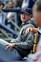 Apr 03, 2011; Bronx, NY, USA; Detroit Tigers pitcher Justin Verlander (35) during game against the New York Yankees at Yankee Stadium. Tigers defeated the Yankees 10-7. Mandatory Credit: Tomasso De Rosa