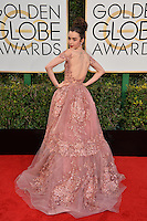 Lily Collins at the 74th Golden Globe Awards  at The Beverly Hilton Hotel, Los Angeles USA 8th January  2017<br /> Picture: Paul Smith/Featureflash/SilverHub 0208 004 5359 sales@silverhubmedia.com