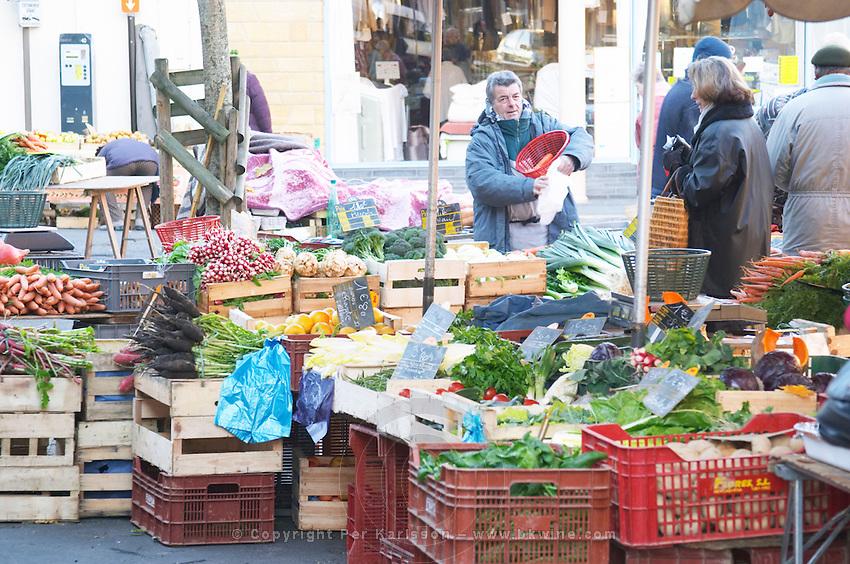Fruits and vegetables on sale at a street market. Bergerac Dordogne France